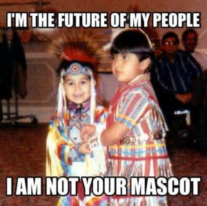 Image of two Indigenous children with text: I'M THE FUTURE OF MY PEOPLE I AM NOT YOUR MASCOT