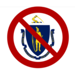 Image of the Massachusetts state seal with a red line through it