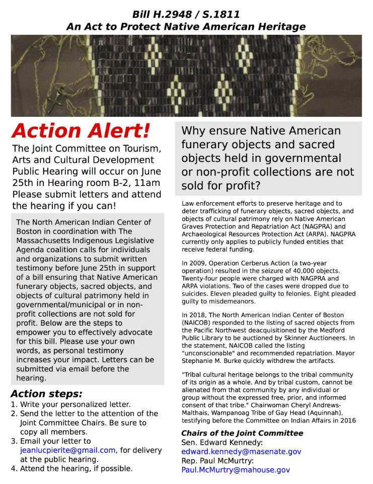 Flyer for the Acto to Protect Native American Heritage