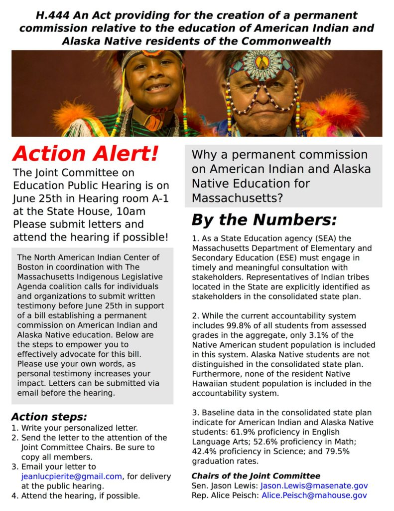 Flyer for As Act providing for the creation of a permanent comission relative to the education of American Indian and Alaska Native residents of the Commonwealth
